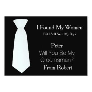 "Will You Be My Groomsman white & Black Tie 5"" X 7"" Invitation Card"