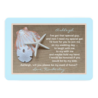 Will You Be My Maid of Honor Blue Beach Theme Card