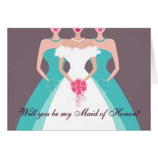 Will you be my Maid of Honor? Bridal Party (pool) Greeting Card