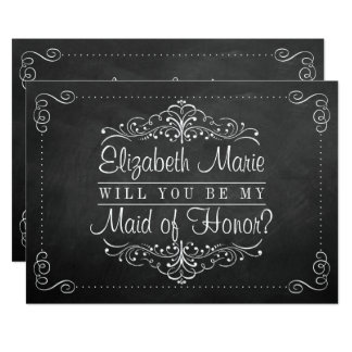 """Will You Be My Maid Of Honor? Chalkboard Cards 5"""" X 7"""" Invitation Card"""