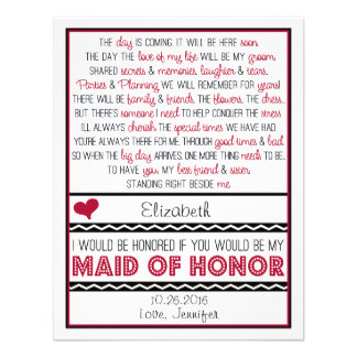 Will you be my Maid of Honor Deep Red Black Poem Personalized Announcement