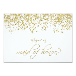Will you be my maid of honor? Gold Confetti Card
