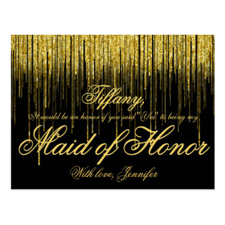 Will You Be My Maid of Honor? Golden Confetti Postcard