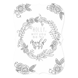 Will you be my maid of honor gray flower card