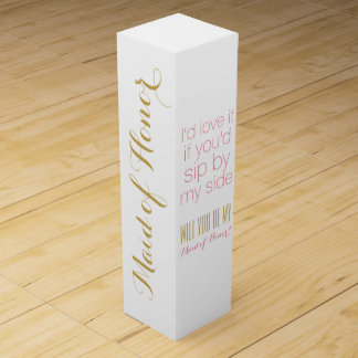 Will you be my maid of honor matron gift box wine bottle boxes