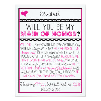 "Will you be my Maid of Honor? Pink/Black Collage 4.25"" X 5.5"" Invitation Card"