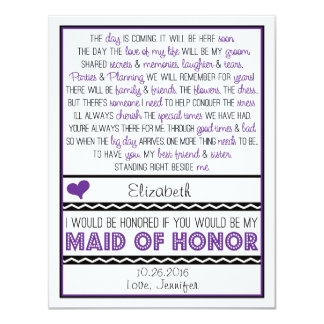 """Will you be my Maid of Honor? Purple/Black Poem 4.25"""" X 5.5"""" Invitation Card"""