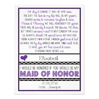 Will you be my Maid of Honor Purple Black Poem Personalized Announcement