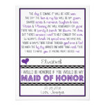 Will you be my Maid of Honor? Purple/Black Poem V2 Invite