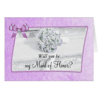 Will you be my Maid of Honor Purple Wedding Card