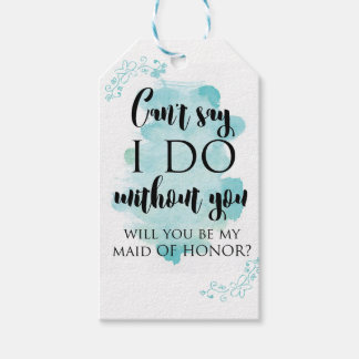 Will you be my maid of honor question card pack of gift tags