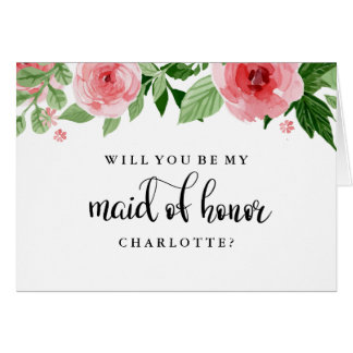Will You Be My Maid of Honor Rose Watercolor Card