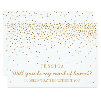 """Will You Be My Maid Of Honor Vintage Gold Confetti 5"""" X 7"""" Invitation Card"""