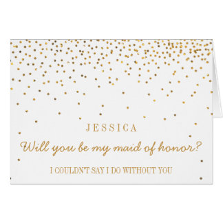 Will You Be My Maid Of Honor Vintage Gold Confetti Card