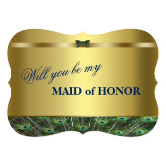 Will You Be My Maid of Honour? Custom Gold Peacock Card