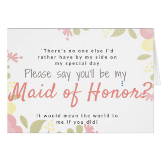 Will you be my maid of honour? custom text card