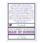 Will you be my Maid of Honour? Purple/Black Poem