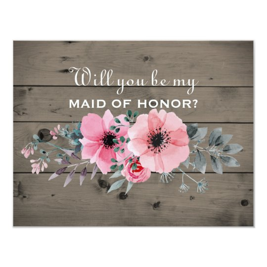 Will You Be My Maid of Honour |Rustic Maid of Card