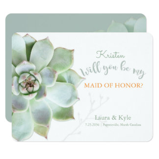 Will You Be My Maid Of Honour Succulent Wedding Card