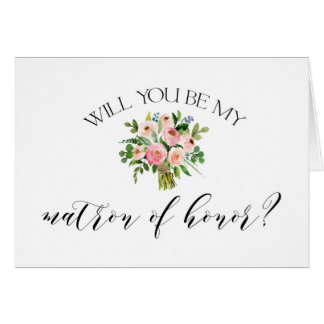 Will you be my matron of honor card - pink floral