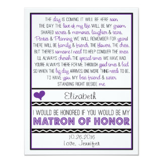 "Will you be my Matron of Honor? Purple/Black Poem 4.25"" X 5.5"" Invitation Card"