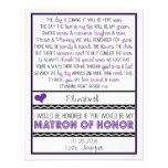 Will you be my Matron of Honor? Purple/Black Poem Custom Invitations