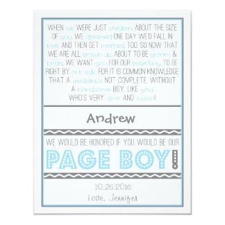"""Will you be my Page Boy? Baby Blue/Gray Poem Card 4.25"""" X 5.5"""" Invitation Card"""