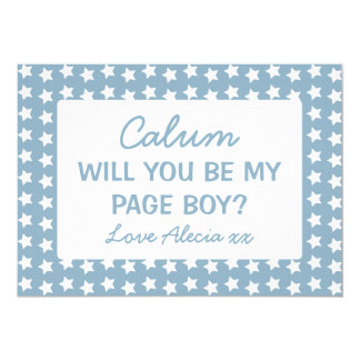 Will You Be My Page Boy Blue Stars Card