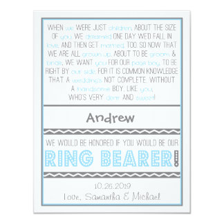 Will you be my Ringbearer Baby Blue / Gray Card