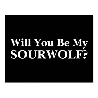 Will you be my SOURWOLF? Customizable Text & Color Postcard