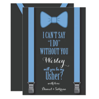 "Will You Be My Usher - Blue Tie Braces 4.5"" X 6.25"" Invitation Card"