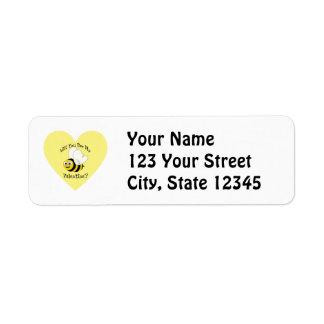 Will You Bee My Valentine? Return Address Label