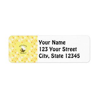 Will You Bee My Valentine? Yellow hearts Return Address Label