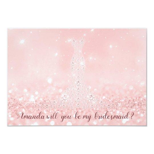 Will You Bridesmaid Glitter Diamond Dress Pink Lux Card