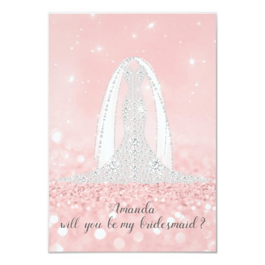 Will You Bridesmaid Glitter Grey Dress Pink Veil Card