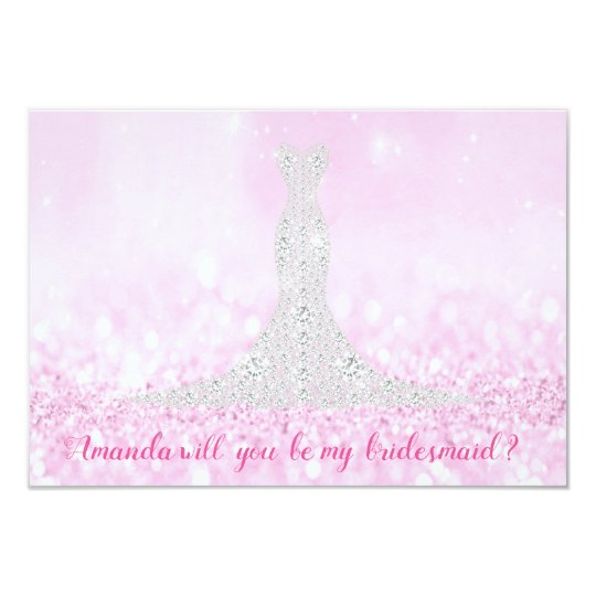 Will You Bridesmaid Glitter Pink Diamond Dress Lux Card