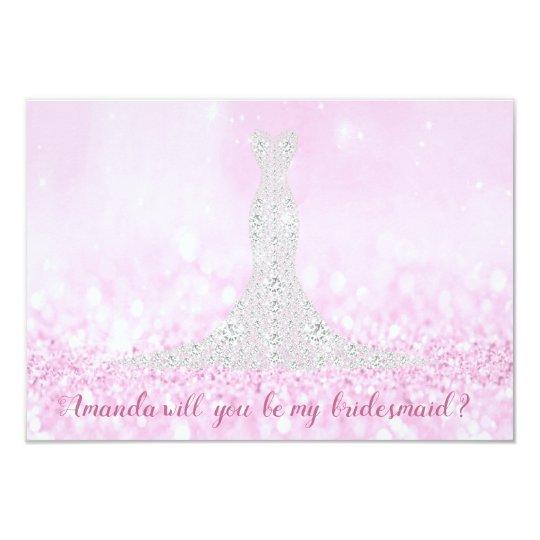 Will You Bridesmaid Glitter Pink Diamond Dress Wow Card