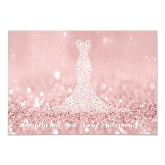Will You Bridesmaid Glitter Red Bean Diamond Dres Card
