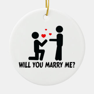 Will You Marry Me Bended Knee Man & Man Ceramic Ornament