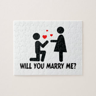 Will You Marry Me Bended Knee Man & Woman Jigsaw Puzzle