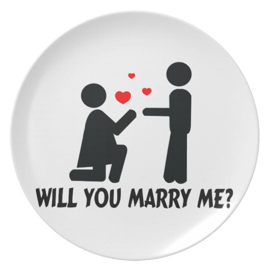 Will You Marry Me Bended Knee Woman & Man Plate