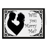 Will you marry me black and white cameo card