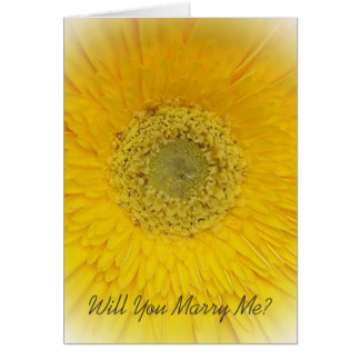 Will You Marry Me Card Yellow Gerbera