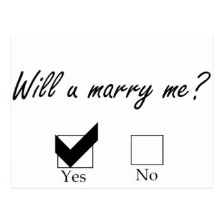 Will you marry me? Check Box Postcard