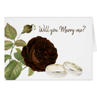 Will you Marry Me, Chocolate Brown Rose Card