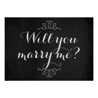 Will You Marry Me? Engagement Chalkboard Poster
