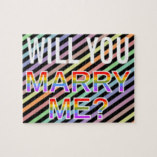 """WILL YOU MARRY ME?"" Gay/Lesbian Marriage Proposal Jigsaw Puzzle"