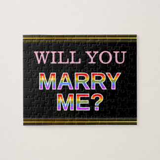 """WILL YOU MARRY ME?"" LGB Marriage Proposal Jigsaw Puzzle"