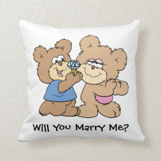 will you marry me proposing teddy  bear throw pillow