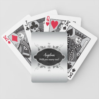 Will You Marry Me Wedding Proposal Elegant Custom Bicycle Playing Cards